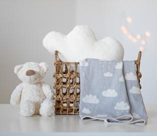 Cloud Throw Grey ve Cloud Cushion ecru